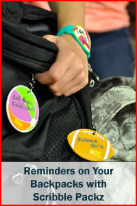 Reminders on your backpacks with Scribble Packz